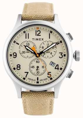 Timex Связанный хроно хаки нейлон ремешок / натуральный циферблат TW2R47300