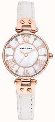 Anne Klein Женские джинсовые часы розового золота кожаный ремешок AK/N2718RGWT