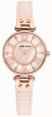 Anne Klein Женские джинсовые часы розового золота кожаный ремешок AK/N2718RGPK