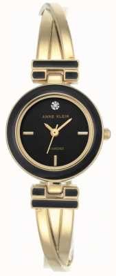 Anne Klein Женская мелодия золотого тона браслет черный циферблат AK/N2622BKGB