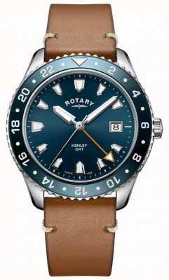 Rotary Мужские часы Henley GMT коричневые кожаные с синим циферблатом GS05108/05