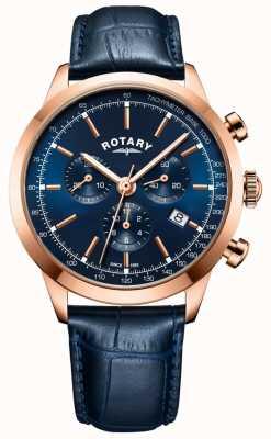 Rotary Мужские часы Cambridge хронограф синие кожаные часы GS05257/05