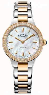 Rotary Женское кенсингтонское розовое золото из двух тон каменных часов LB05277/41
