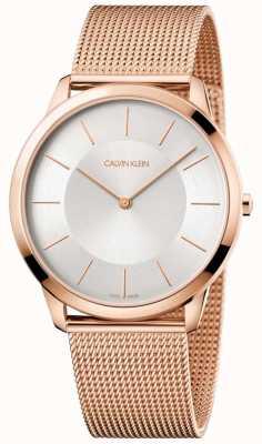 Calvin Klein Мужская минимальная розовая золотая сетка браслет серебристый циферблат K3M2T626