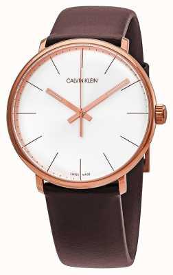 Calvin Klein Мужской высокий полдень розовый золотой случай коричневый кожаный ремешок K8M216G6