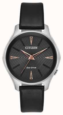 Citizen Женские черные кожаные модены EM0591-01E