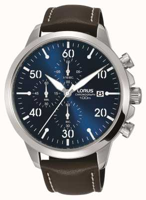 Lorus Мужские часы с хронографом коричневый кожаный ремешок синий циферблат RM353EX9