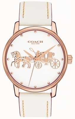 Coach Женский большой белый кожаный ремешок из розового золота 14502973