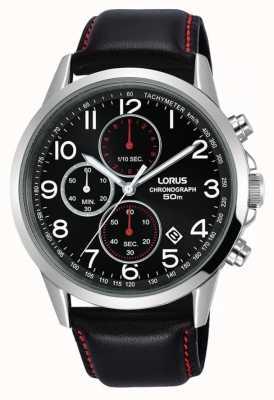 Lorus Мужские часы с хронографом черный кожаный ремешок черный циферблат RM369EX8