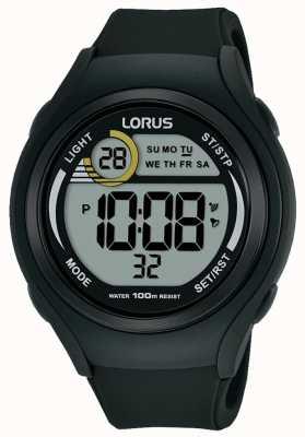 Lorus Мужские резиновые резиновые цифровые спортивные часы черный R2373LX9