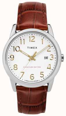 Timex Легкая подпись читателя с датой 38 мм кожаные часы TW2R65000