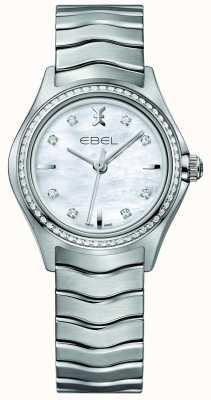 EBEL Волна 66 бриллиант набор кварц 30мм мать перламутровые женские часы 1216194
