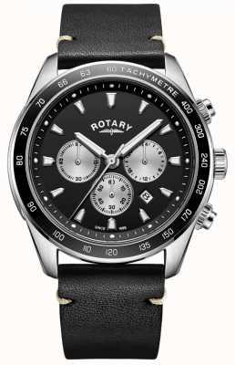 Rotary Мужские часы с черным хроновым циферблатом черного кожаного ремешка GS05115/04