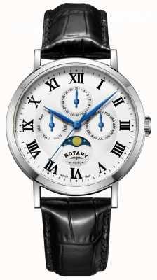 Rotary Mens windsor moonphase day date смотреть черный кожаный ремешок GS05325/01