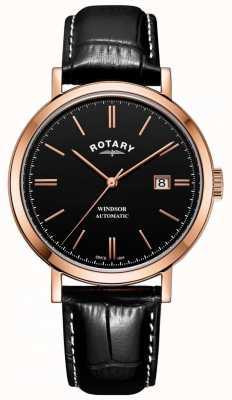 Rotary Мужские часы с виндзором с золотым тоном с черным циферблатом GS05319/04
