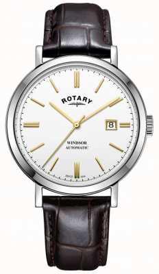 Rotary Mens Windsor часы серебряный тон случае белый циферблат кожаный ремешок GS05315/02