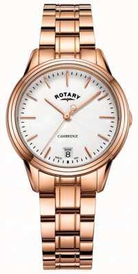Rotary Женские кулачковые часы с розовым золотым тональным браслетом LB05262/06