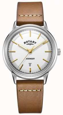 Rotary Мужские мстители смотреть серебряный тон случае кожаный ремешок GS05340/02