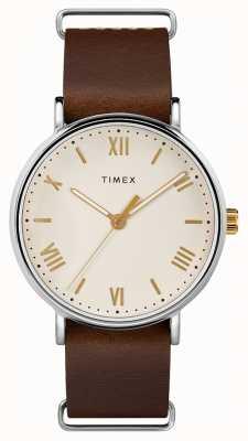 Timex Мужская 41мм коричневый кожаный ремешок для ремня TW2R80400