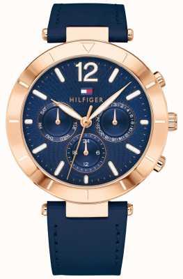 Tommy Hilfiger Женские часы Chloe день дата синий силиконовая ловушка 1781881