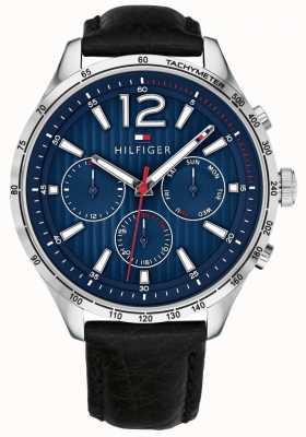 Tommy Hilfiger Мужские часы с хронографом gavin черный кожаный ремешок 1791468