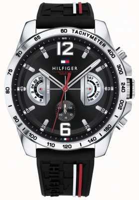 Tommy Hilfiger Мужские часы Decker черный циферблат черный резиновый ремешок 1791473