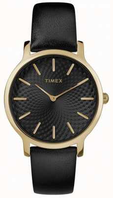 Timex Женщин горизонт 34 мм черный кожаный ремешок черный циферблат TW2R36400