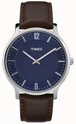 Timex Mens slim skyline 40mm серебряный случай коричневый кожаный циферблат TW2R49900