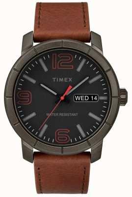 Timex Мужская мода 44 коричневый кожаный ремешок черный циферблат TW2R64000