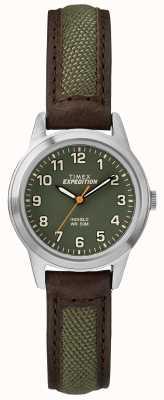 Timex Полевой мини-бровей кожаный зеленый циферблат TW4B12000