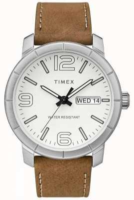 Timex Мужская мода 44 бежевый кожаный ремешок белый циферблат TW2R64100