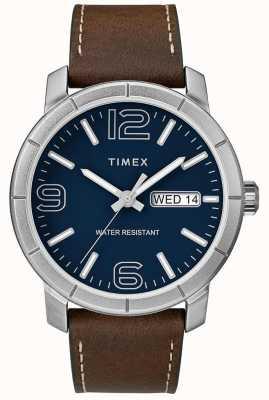 Timex Мужская мода 44 коричневый кожаный ремешок синий циферблат TW2R64200