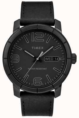Timex Мужская мода 44 черный кожаный ремешок черный циферблат TW2R64300