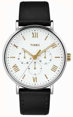 Timex Мужская 41мм южный черный кожаный ремешок белого циферблата TW2R80500