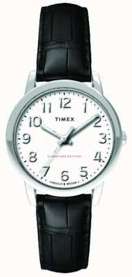 Timex Женщин 30 мм легкий читатель черный croc ремешок белый циферблат TW2R65300