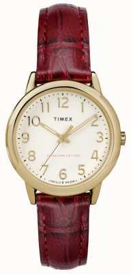 Timex Женщин 30мм легкий читатель бордовый набор кремового кремового ремня TW2R65400