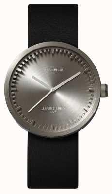 Leff Amsterdam Труба часы d38 стальной корпус черный кожаный ремешок LT71001
