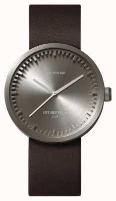 Leff Amsterdam Труба часы d38 стальной корпус коричневый кожаный ремешок LT71002