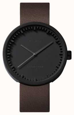 Leff Amsterdam Труба часы d38 черный чехол коричневый кожаный ремешок LT71012