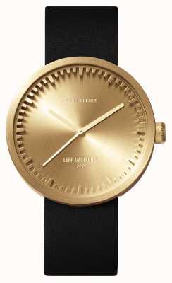 Leff Amsterdam Труба часы d38 латунный чехол черный кожаный ремешок LT71021