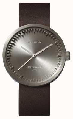 Leff Amsterdam Труба часы d42 стальной корпус коричневый кожаный ремешок LT72002