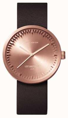 Leff Amsterdam D38 розовое золото коричневый кожаный ремешок LT71032