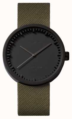 Leff Amsterdam Труба часы d42 черный корпус зеленый шнур ремешок LT72014