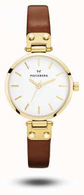 Mockberg Ilse petite коричневый кожаный ремешок белый циферблат MO208