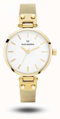 Mockberg Ливия petite золото pvd покрынный сетчатый браслет белый циферблат MO401