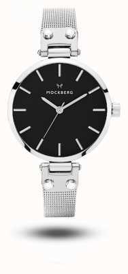 Mockberg Elise petite noir нержавеющая сталь сетчатый браслет черный циферблат MO404