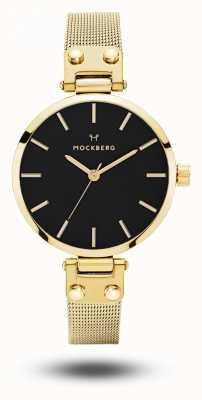 Mockberg Ливия petite noir золото pvd покрынный сетчатый браслет черный циферблат MO403