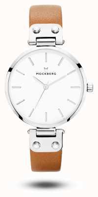 Mockberg Wera коричневый кожаный ремешок белый циферблат MO1006