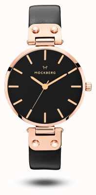 Mockberg Sigrid black rose gold pvd покрытый черный кожаный ремешок MO110