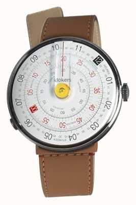 Klokers Klok 01 желтая головка часов карамель коричневый пролив одиночный ремешок KLOK-01-D1+KLINK-04-LC12